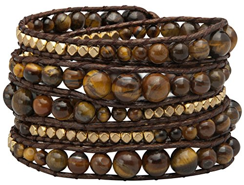 Genuine Stones 5 Wrap Bracelet - Bangle Cuff Rope With Beads - Unisex - Free Size Adjustable (Tiger Eye)