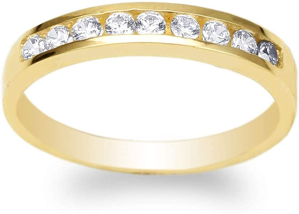 Amazon Com Jamesjenny Womens Yellow Gold Plated Round Cz Simple Wedding Channel Band Ring Size 4 10 Jewelry