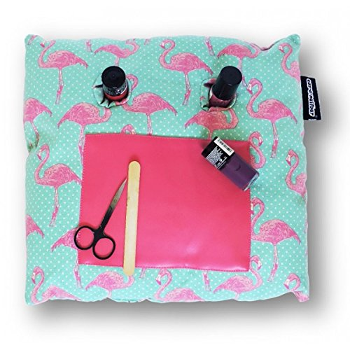 (Coz-E-Nailbar Nail Bar Varnish Manicure Cushion - Hummingbird, Flamingo, Vintage Floral, Tropical Fern, Polka Dot Spotty, Tattoo, Butterfly Popsicle Prints (Flamingo))