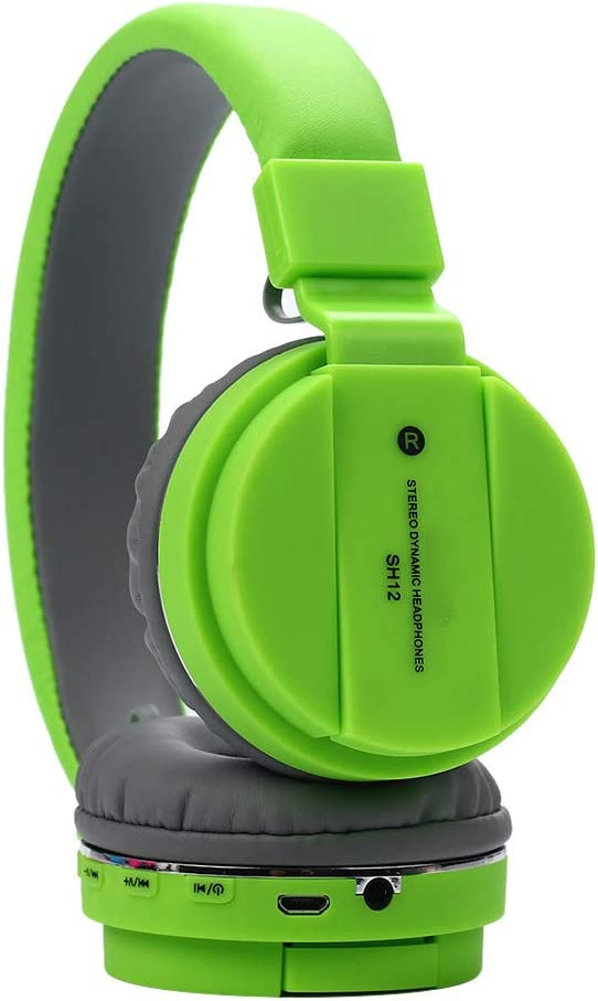 Han Shi Wireless Bluetooth Headphones Foldable Lightweight Over Ear Headsets with Microphone, Soft Earpads Deep Bass Stereo Earphone for Sport, Work, Travel #BAO0120-009(Green)