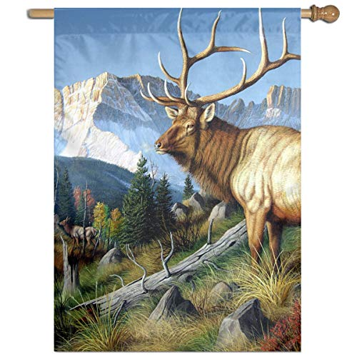 YUANSHAN Single Print Home Garden Flag Wild Deer with Long Horn Polyester Indoor/Outdoor Wall Banners Decorative Flag 27