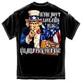 Erazor Bits Patriotic Uncle Sam Pack Your Bags Flag Design American Flag Marine Corps US Army Air Force US Navy Military 100% Cotton T-Shirt Black ADD1-MM2314XXXL XXX-Large