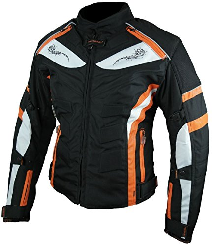 HEYBERRY Damen Motorrad Jacke Motorradjacke Textil Schwarz Orange Gr. M / 38