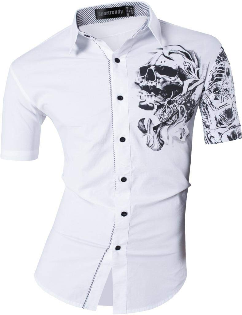 Sportrendy Men's Slim Fit Casual Short Sleeves Button Down Dress Shirts Tops JZS055
