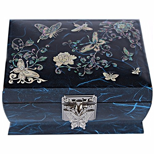 Jewelry Boxes Music Box Gift Box Mother Of Pearl Medium Made Korea HJML2001 Blue