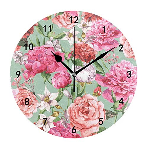 (CAIBOSS Classic Peony Wall Clocks Decorative Silent 9.4 in for Living Room Home Decor Wall Art)