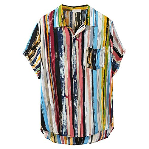 Rainbow Button Down Shirt Men Linen Short Sleeve 2019 New Casual Tee Loose Top Blouse with Pocket (XXL, Multicolor 2)