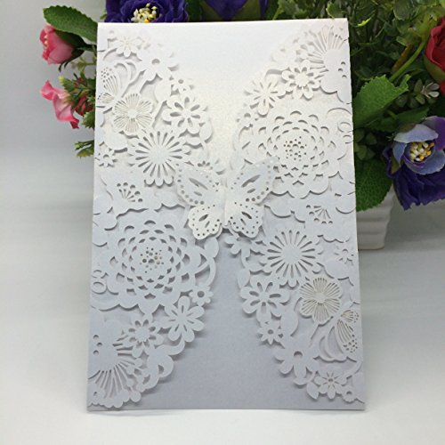 50PCS Pear Paper Laser Cut Bronzing Wedding Baby Shower Invitation Cards with Butterfly Hollow Favors Invitation Cardstock for Engagement Birthday Graduation (Ivory)
