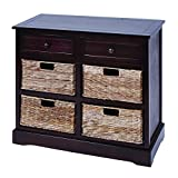 Benzara 96179 Mastercraft Basket Cabinet with 4-Wicker Baskets