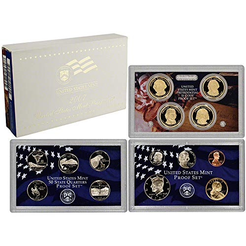 2007 S Gem 14-Piece Proof Set - Penny, Nickel, Dime, 5-Statehood Quarters, Kennedy Half with Sacagawea Dollar and Presidential Dollars OGP - Excellent Proof Coins US Mint