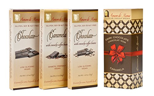 Coffee Connoisseur - Amore di Mona Luxury Chocolate Gift Box: Vegan, Free of Gluten, Peanuts, Tree Nuts, Milk, Sesame & Soy. All-natural, Non-GMO, Low - Candy Amore