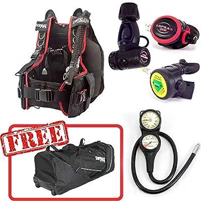 Sopras Sub Advanced Open Water Package M-l Speleo 1500 Bcd Regulator Octo Console Gauge Free Travel Gear Bag Scuba Diving Bundle Kit