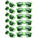 12 Packs Wholesales 80's Retro Style Neon Party Sunglasses 400 UV Protection for Party Favors,Photo Booth Prop,Goody Bag Favors,End of Year Giveaway,Birthdays Gifts for Mam & Women (12 Green)
