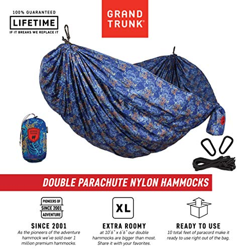 Grand Trunk Hammock – Camping Double, Tree Hanging Kit Included – Prints for Every Personality Parachute Nylon, Portable, Indoor Outdoor, Travel, Backpacking, Survival