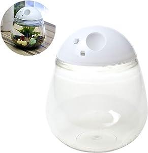 Saim Betta Aquarium Mini Fish Tank Plastic with LED Light Desktop Bowl Round Aquarium Decoration for Home Living Room Bedroom Office Creative Gift Clear