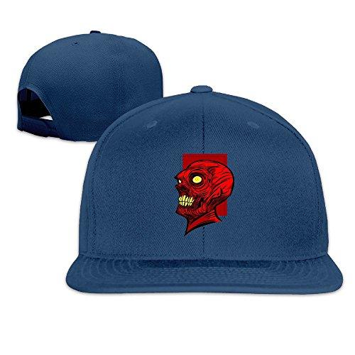 Red Skull Strategic Genius Flat-along Trucker Hat Vintage Caps