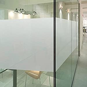 DUOFIRE Privacy Window Film Frosted Glass Film Matte White Static Cling Glass Film No Glue Anti-UV Window Sticker Non Adhesive For Privacy Office Meeting Room Bathroom Living Room 23.6in. x 78.7in.