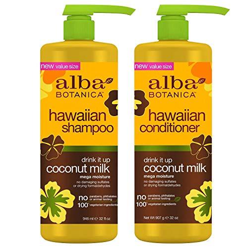 Alba Botanica, Drink It Up Coconut Milk Hawaiian Duo set Conditioner and Shampoo, 24 Ounce Bottles - Deep Conditioner Alba Botanica