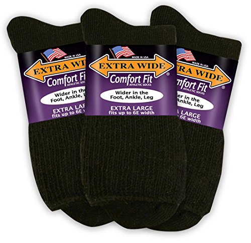 Extra Wide Comfort Fit Athletic Quarter (Anklet) Socks for Men - Black - Size 16.5-21 (up to 6E wide) - 3PK ()