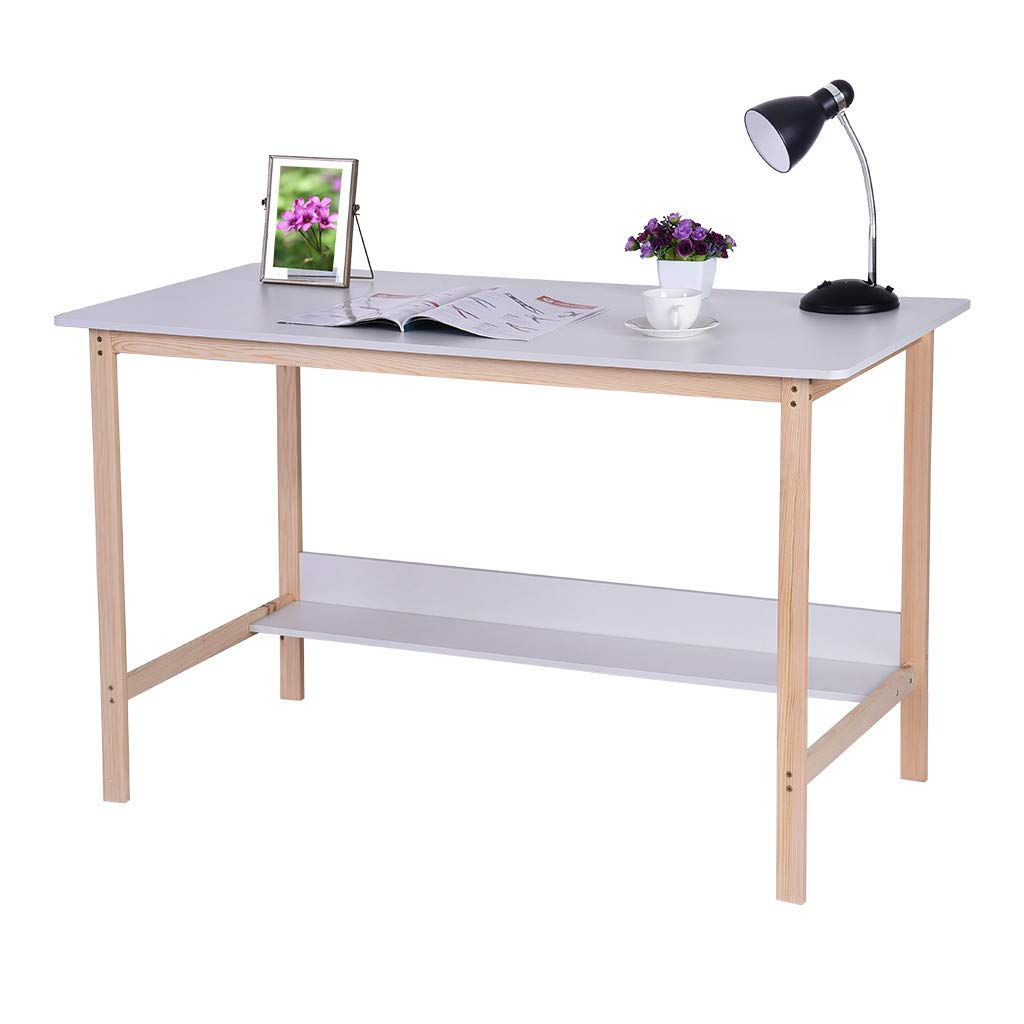 FILOL Modern Style Computer Desk Writing Table, PC Laptop Office Desk, Study Writing Modern Table, Simple Writing Desk, Home Solid Wood Table - US Fast Deliver (White) by FILOL