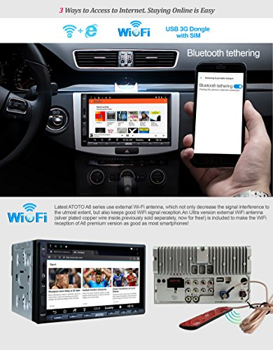ATOTO A6 Android Car Navigation Stereo w Dual Bluetooth Quick Charge  Premium A6Y2721PB 2G 32G Universal Auto Entertainment Multimedia Radio WiFi  BT