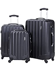 Goplus GLOBALWAY 3 Pcs Luggage Travel Set Bag ABS Trolley Suitcase w/ TSA Lock