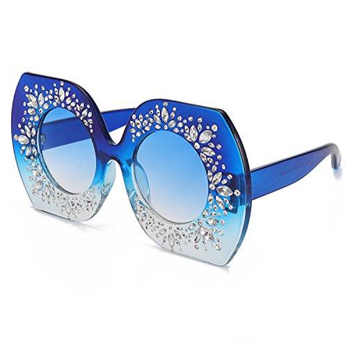 ROYAL GIRL Retro Modern Women Sunglasses Oversized Crystal