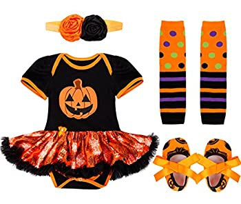 YiZYiF Newborn Toddler Baby Girls Party Dress 4 Pieces Outfits with Headband Set Pumpkin Black 3-6 Months
