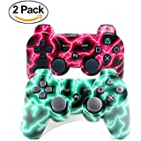 Youthlife [2 Pack] Wireless Bluetooth Controller for PS3, Double Vibration Gamepad Remote for Playstation 3 with USB Charging Cable (Green Lightning + Red Lightning)