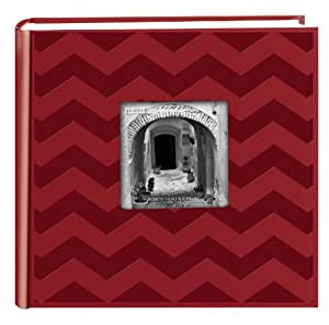 Pioneer Photo Albums DA-200CVR 200-Pocket Chevron Embossed Frame Leatherette Photo Album, 4 by 6-Inch, Red