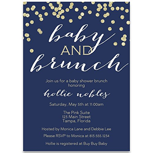 Baby Shower Invitations, Baby and Brunch, Navy, Gold, Champagne, Mimosa, Toast, Boy, Girl, Unisex, Confetti, Glitter, Set of 10 Custom Printed Invites with White ()
