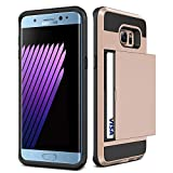 Galaxy S6 Case,JOBSS [Card Pocket] Heavy Duty Armor Wallet Case Snap-on Soft Rubber Bumper Protective Hard Shell Card Holder Slide Slot Cover For Samsung Galaxy S6 S VI G9200 GS6 All Carriers[Rose Gold]