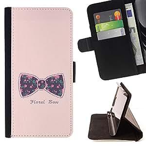 Ihec-Tech / Negro Flip PU Cuero Cover Case para Sony Xperia M2 - Texte floral rose bébé Violet