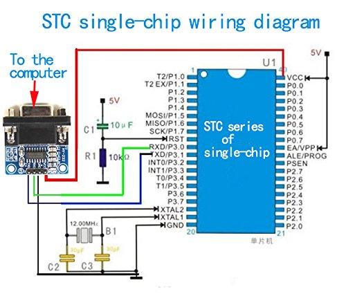Adaptador de 9 pines DaoRier RS232 a TTL con 4/cables jumper 5/V-3.3/V