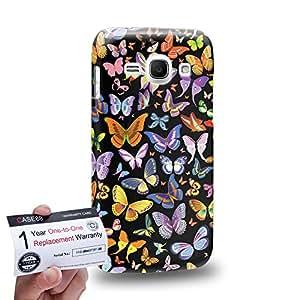Case88 [Samsung Galaxy Ace 3] 3D impresa Carcasa/Funda dura para & Tarjeta de garantía - Art Design Black Butterfly