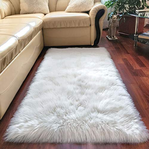 Premium Faux Sheepskin Fur Rug White - 2.3x5 feet - Best Extra Long Shag Pile Carpet For Bedroom Floor Sofa - Soft Fur Area Rug (Rug White Soft)