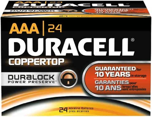 Duracell MN2400BKD CopperTop Alkaline-Manganese Dioxide Battery, AAA Size, 1.5V (Case of 144)