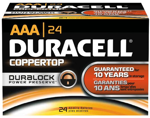 Duracell MN2400BKD CopperTop Alkaline-Manganese Dioxide Battery, AAA Size, 1.5V (Case of 144) by Duracell