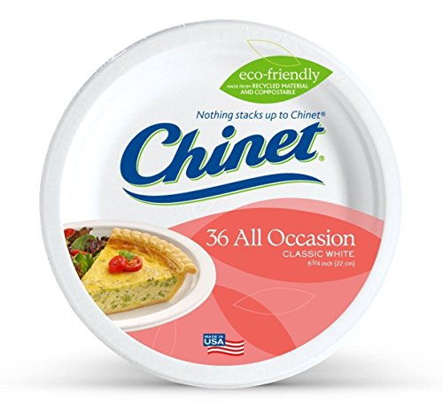 36 Count Chinet Premium 8 3/4-Inch Paper Plates For Party.