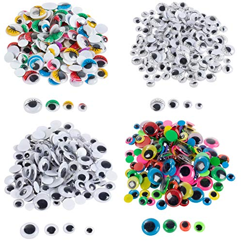 Googly Eyes - 600-Pack Wiggle Eyes, Moving Eyes, Art Craft Supplies, for DIY, School Projects, Toy Accessories, and Scrapbooking, Doll Making, Decoration, Assorted Designs, 4 Assorted Sizes ()