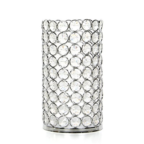 Hosley Silver Finish Sparkle Gem LED Pillar Candle Holder 7.5