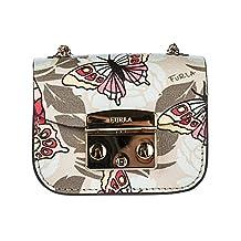 Furla women's leather clutch handbag bag purse metroplis beige
