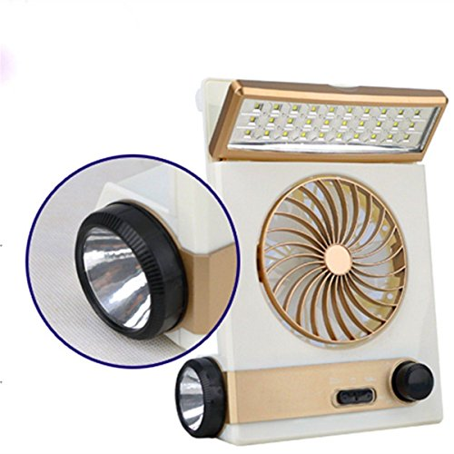 Gazelle Trading Multi-functional Solar Cooling Table Fans Eye-Care LED Table Lamp Flashlight Solar Panel Adaptor Plug Home Use Camping by Gazelle Trading