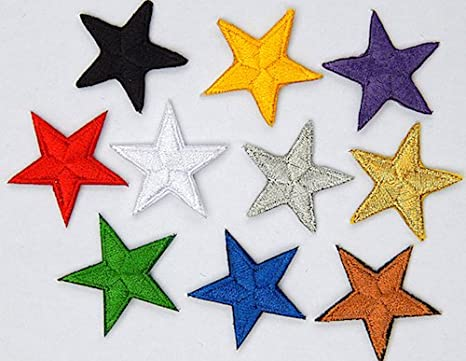 "hand finished Yellow star patches /> pack of 10 />embroidered/> iron-on /> 1/"" 25mm"