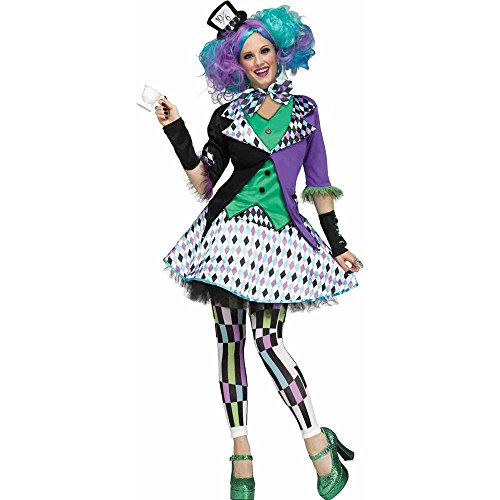 Mad Hatter Womens Halloween Costumes - Fun World Women's Mad Hatter Costume, Multi, Medium/Large