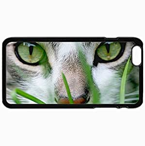 Fashion Unique Design Protective Cellphone Back Cover Case For iPhone 6 Plus Case Cat Snout Eyes Green Grass Black