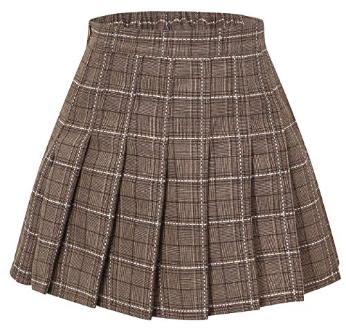 (Girls' Plaid Pleated School Uniform Skort Skirt for Kids Toddlers, Little and Big Girls Coffee, Tag 170 = 13-14 Years)