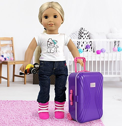"""Click N' Play 18"""" Doll Travel Carry on Suitcase Luggage 7 Piece Set with Travel"""