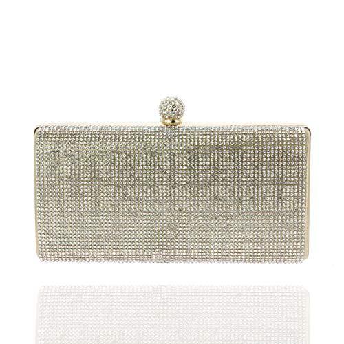 SP SOPHIA COLLECTION Elegant Rectangle Rhinestone Crystal Hand Clutch Evening Bag for Parties in Gold