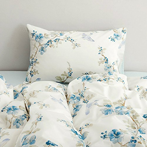 Eikei Home Garden Chinoiserie Floral Duvet Quilt Cover Asian Porcelain Style Tree Blossom and Birds Blue and White Watercolor Pattern 300tc Cotton Percale Bedding Set (Twin, Blue)